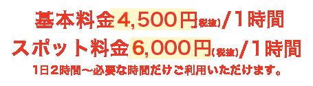 1時間3,000円(税抜)の定額制です。